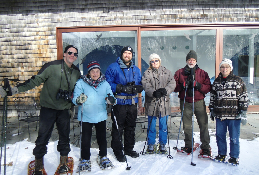 Members of the Outdoors Club of the Alzheimer's Association, Maine Chapter take part in a winter nature walk, one of several programs offered by the association.