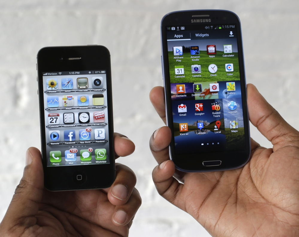 Apple claims Samsung products such as the Galaxy S3, right, violate five of Apple's patents, including the slide-to-unlock feature and the Siri voice introduced on the iPhone 4, left.