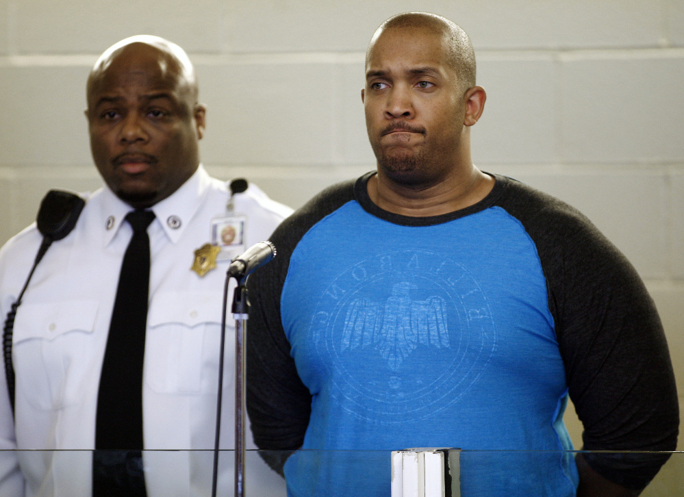Gai Scott, of Randolph. Mass., is arraigned Monday in Plymouth, Mass. Scott is accused of shooting of his uncle and reality TV star Benzino.
