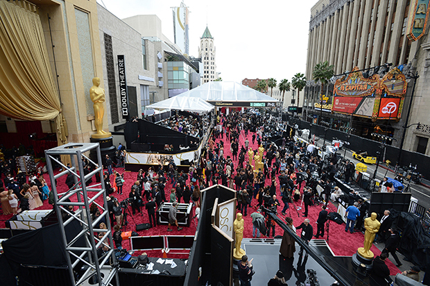 A general view as preparations are made for the Oscars on Sunday, March 2, 2014, at the Dolby Theatre in Los Angeles. (Photo by Jordan Strauss/Invision/AP)