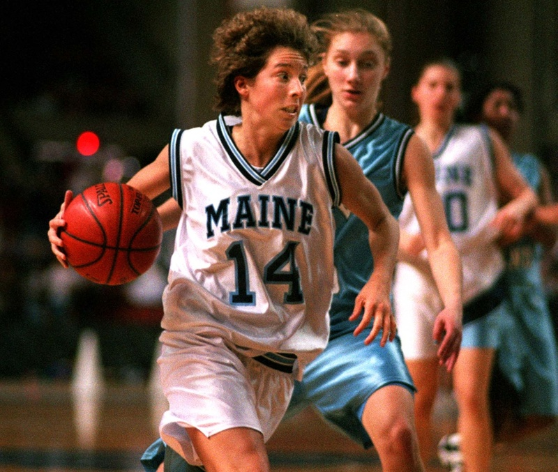 UMaine's Cindy Blodgett drives to the basket in 1996. She is not eligible to be among the first inductees to the new Maine Basketball Hall of Fame.