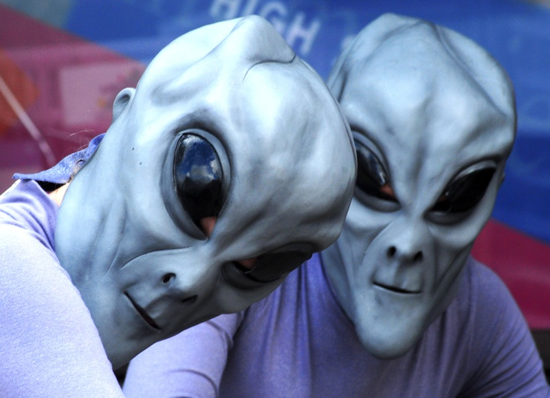 "Two ""aliens"" pose during a UFO Festival in Roswell, New Mexico, in 2007. According to a group of UFO enthusiasts, Maine ranks near the top nationally for sightings of glowing orbs, mystery craft and other phenomena in the skies."