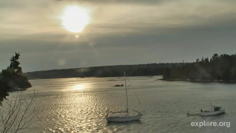 This is a webcam image of the sailboat Dido that drifted onto a sandbar Wednesday off Hog Island.