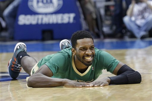 Boston Celtics forward Jeff Green lies on the floor after a turnover during Monday's game against the Dallas Mavericks.