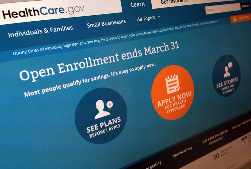 This March 1, 2014 file photo shows part of the website for HealthCare.gov as photographed in Washington. Welcome news for the Obama administration: A major new survey out Monday says the U.S. uninsured rate kept dropping last month and it's now on track to reach the lowest levels since 2008, before President Barack Obama took office. The Gallup-Healthways Well-Being Index finds that 15.9 percent of Americans lack health insurance so far in 2014, down from 17.1 percent in the last three months of 2013. Gallup interviewed more than 28,000 adults, making the results highly accurate.