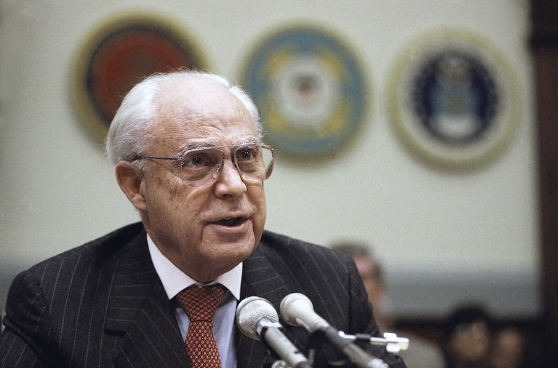 In this Dec. 11, 1991, file photo, Robert Strauss, U.S. Ambassador to the Soviet Union testifies on Capitol Hill in Washington, before the House Armed Service Committee. Strauss, a former chairman of the Democratic Party and an ambassador to the Soviet Union, has died. Strauss' law firm confirmed his death Wednesday, March 19, 2014, at age 95. Away;Close-Up;Communication;crisis;Looking;Microphone;Speech