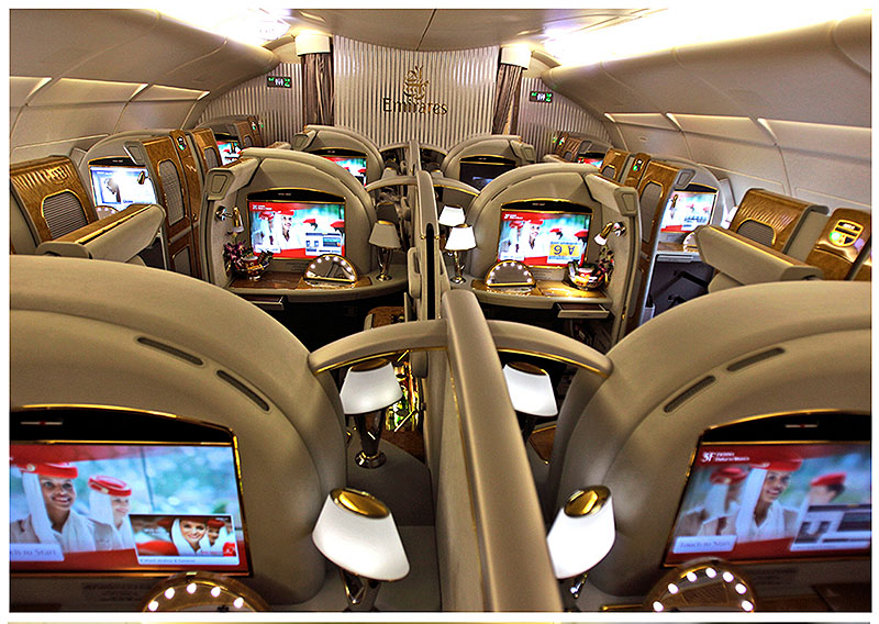 The first class section of an Emirates Airlines Airbus A380.