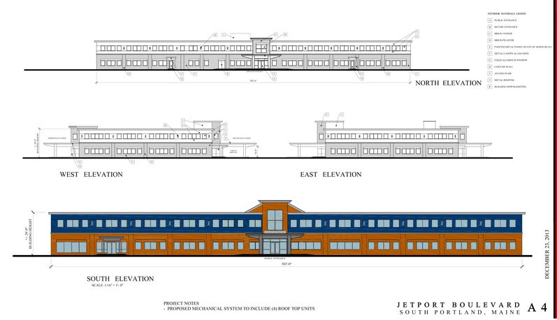 These building elevations are included in the application for the new state offices building proposed for South Portland.