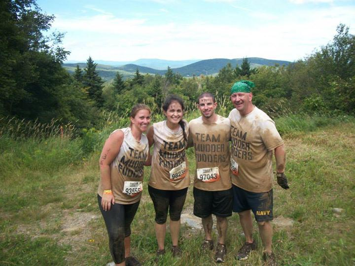 Team Mudder Fudders, Jen Comeau, Rachel Neales, Tim Lira, and Harry Neales