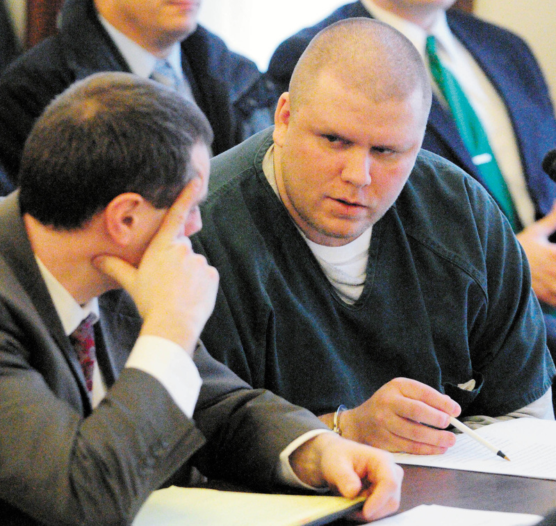 Attorney Kevin Sullivan, left, sits with Peter George Bathgate II during Bathgate's Jan. 27, 2012, sentencing hearing in Kennebec County Superior Court. On Thursday, Bathgate was back in court asking for the conviction to be vacated and a new trial.