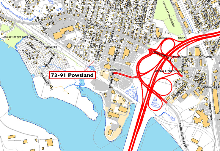The Powsland property is in a B-5 urban commercial mixed business zone, which allows for dense developments of a wide range of residential, industrial, marine and commercial uses.