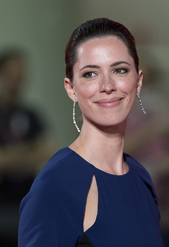 "Actress Rebecca Hall poses for photographers during the red carpet for the film ""A Promise"" at the 2014 Venice Film Festival."
