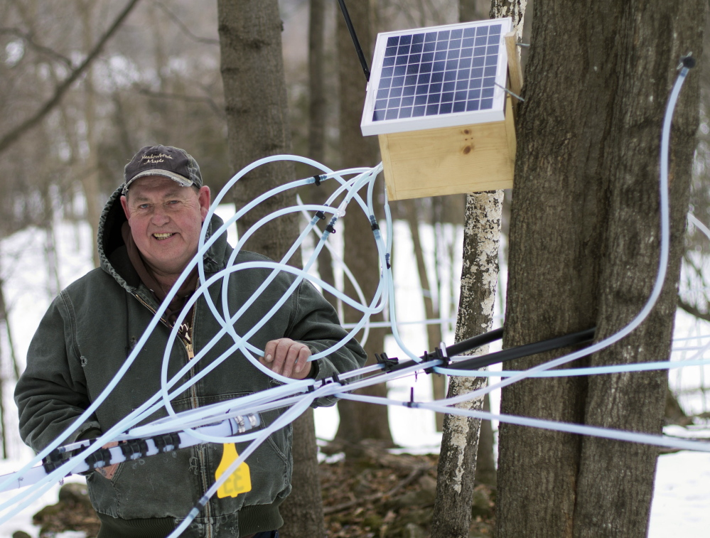 Richards has about 5,000 taps, with about 18 miles of tubing spread out over more than 100 acres and uses the wireless sensors to monitor the flow of sap that provides information immediately on a smart phone of tablet computer.