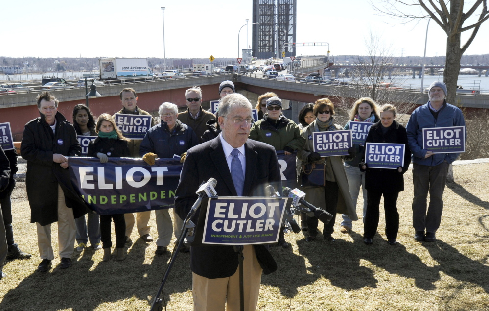 Independent candidate for governor Eliot Cutler speaks during a news conference at Harbor View Memorial Park in Portland.