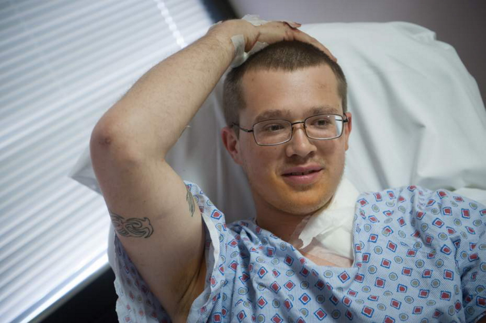 James Valentine of Pittsburgh, Pa., said he feels lucky to be alive after he was admitted to Allegheny General Hospital on Monday after a chain saw blade became embedded in his neck.