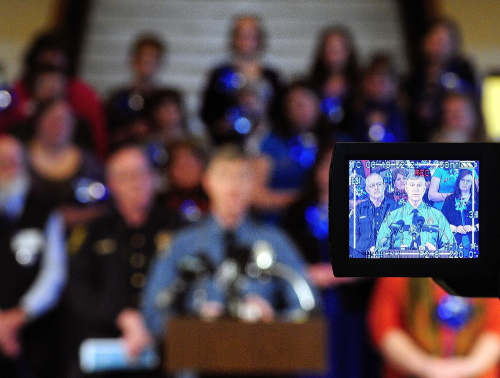 Col. Robert Williams speaks during a news conference held Tuesday in the Maine State House Hall of Flags to kick off Child Abuse Prevention Month.