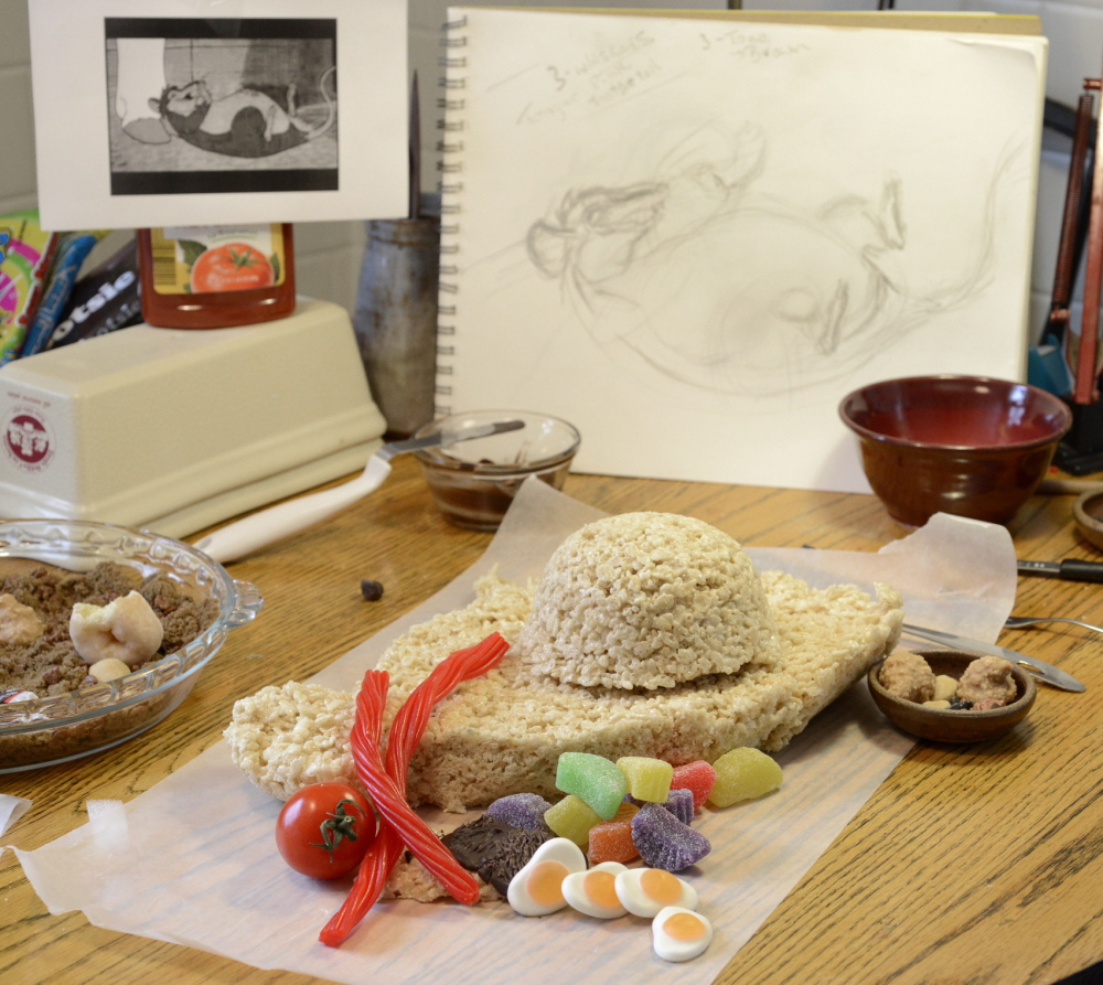 Ingredients for Klotz's creation include Rice Krispies treats, jellied fried eggs and red licorice.
