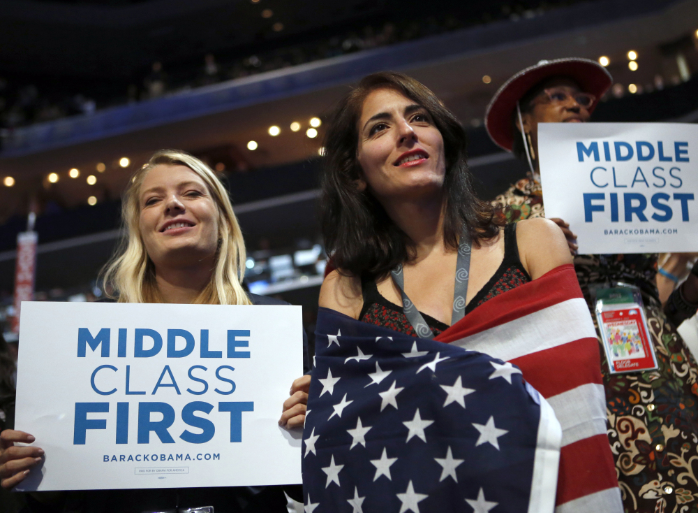 Some delegates at the 2012 Democratic National Convention in Charlotte, N.C., were supporters of policies that favored the middle class over the wealthy.