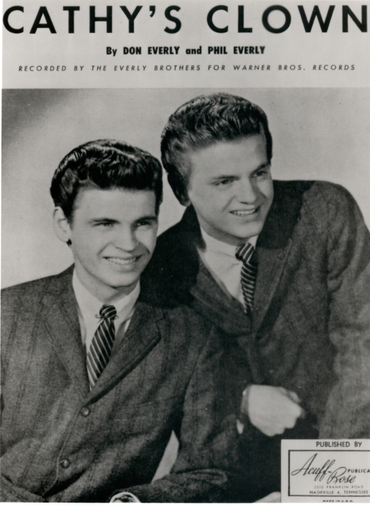 """This undated image provided by the Library of Congress shows The Everly Brothers in a promotion photo for their single """"Cathy's Clown."""""""