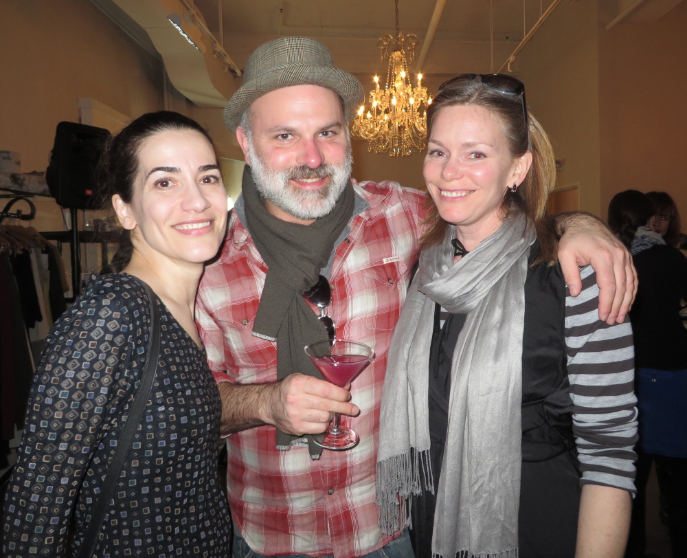 Jenny Anastasoff, left, with Freeport residents Eric Hoffman and Claire Houston at the Maine Jewish Film Festival's opening night party at Akari in Portland.