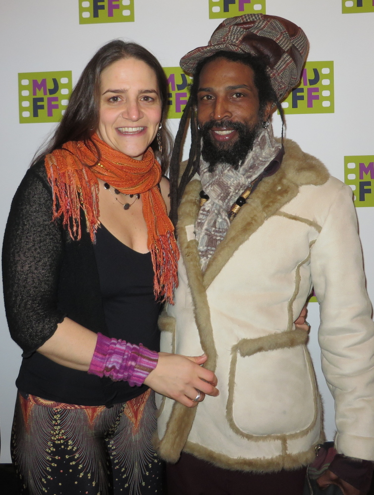 "Lauren Ostis of Portland with Derrick Anderson, who was featured in the ""You don't have to be Jewish to love these films"" print ad for the festival."