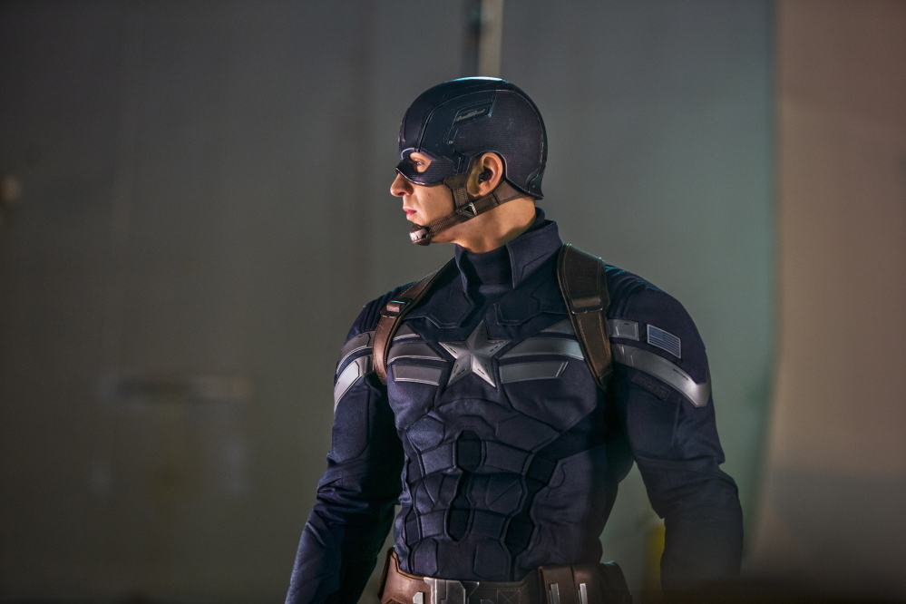 "Chris Evans is Captain America in ""Captain America: The Winter Soldier."""