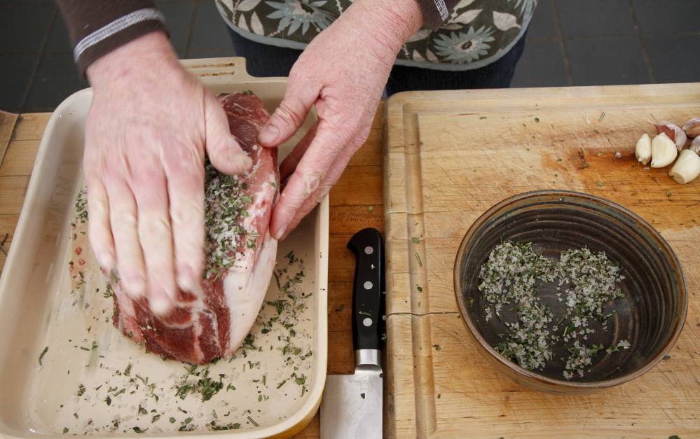 Wiederkehr applies an herb-salt mixture to the meat which she then browns.