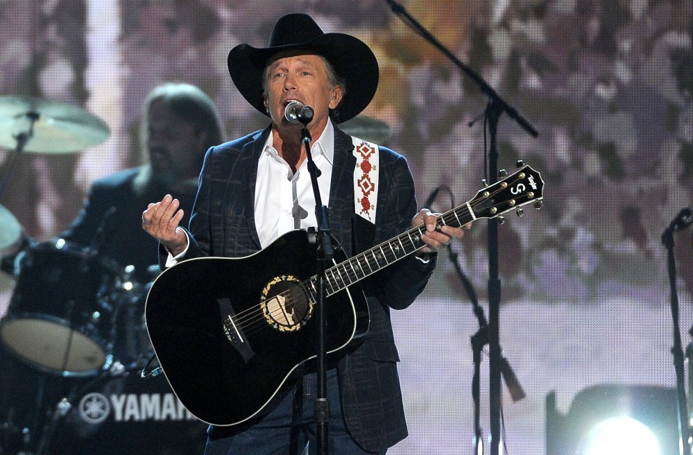 George Strait performs on stage at the 49th annual Academy of Country Music Awards on Sunday in Las Vegas.