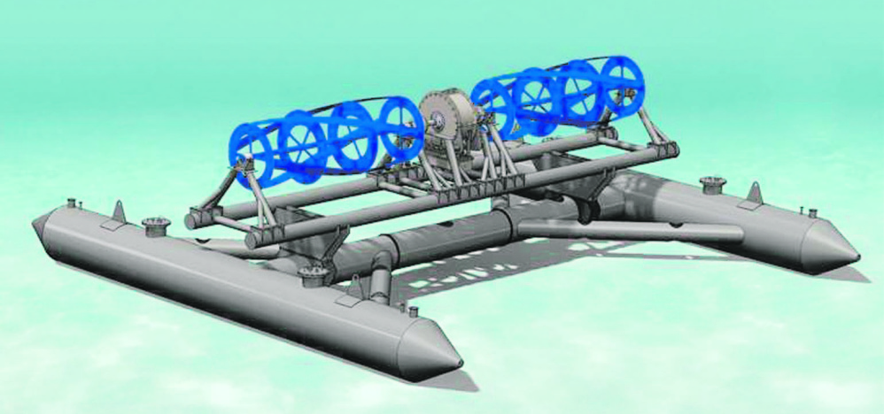 An artist's rendering depicts Ocean Renewable Power Co.'s RivGen hydrokinetic energy technology.