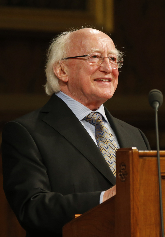 Irish President Michael D. Higgins speaks at the Houses of Parliament on Tuesday.