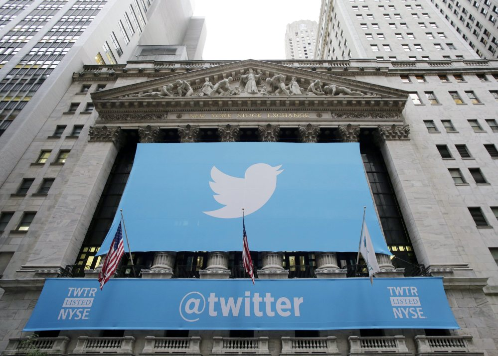 Twitter banners hang on the New York Stock Exchange on Nov. 7, 2013, the day after the company went public. Stocks are down for many technology giants, including Twitter, which is down 35 percent since early March.