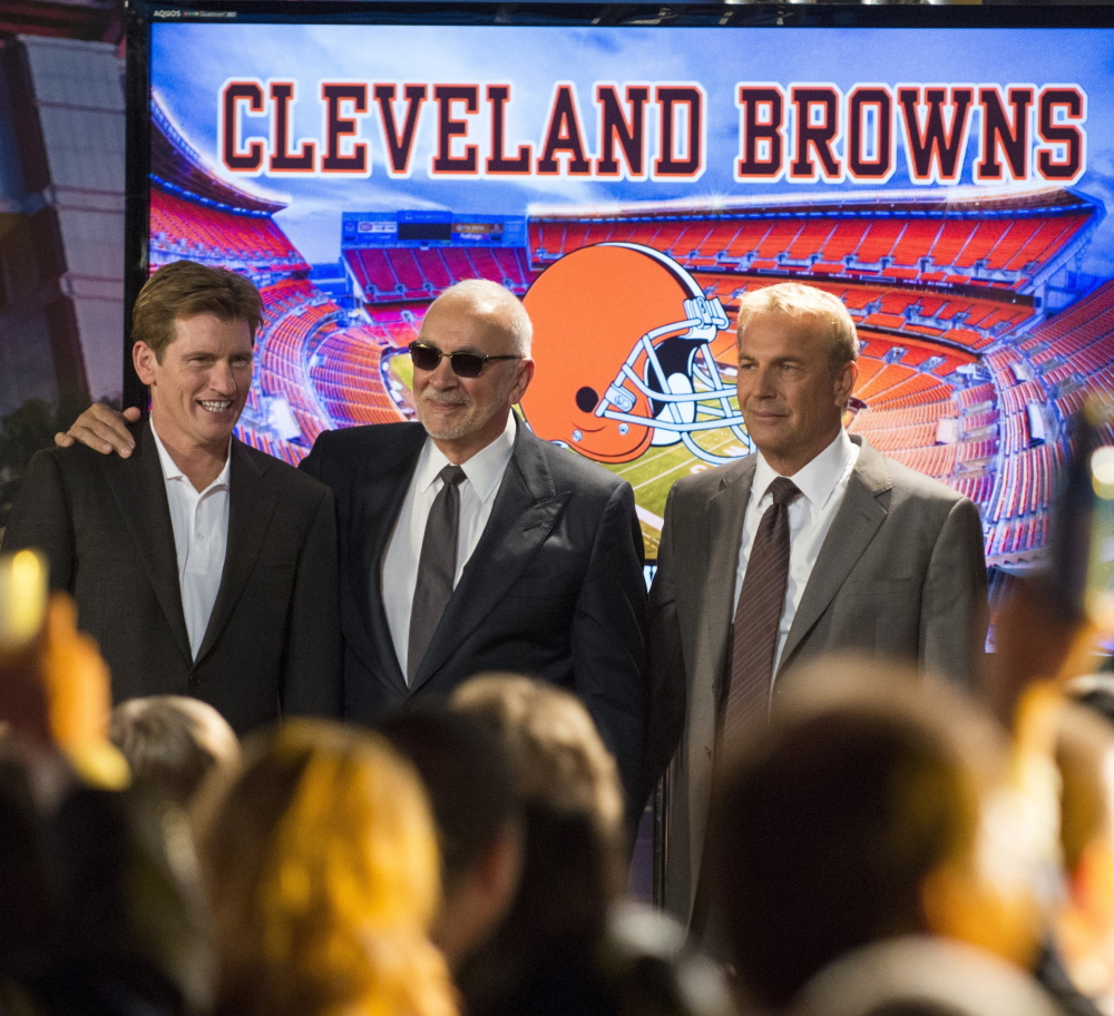 "Denis Leary, from left, Frank Langella and Kevin Costner star in ""Draft Day."""