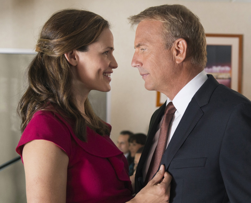 "Jennifer Garner and Kevin Costner in ""Draft Day."""