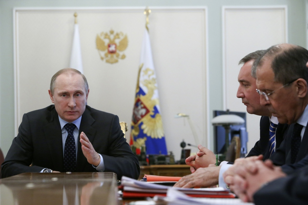 Russian President Vladimir Putin speaks at a Cabinet meeting in the Novo-Ogaryovo residence outside Moscow on Wednesday.