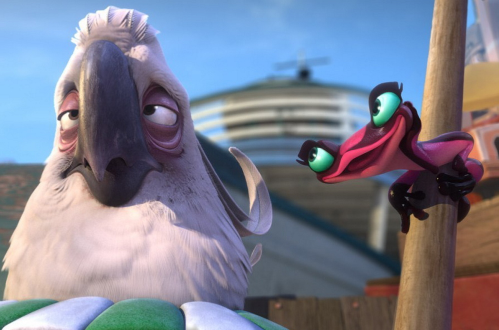 "Nigel the cockatoo, voiced by Jemaine Clement, and Gabi the poison dart frog, voiced by Kristen Chenowith, in ""Rio 2."""