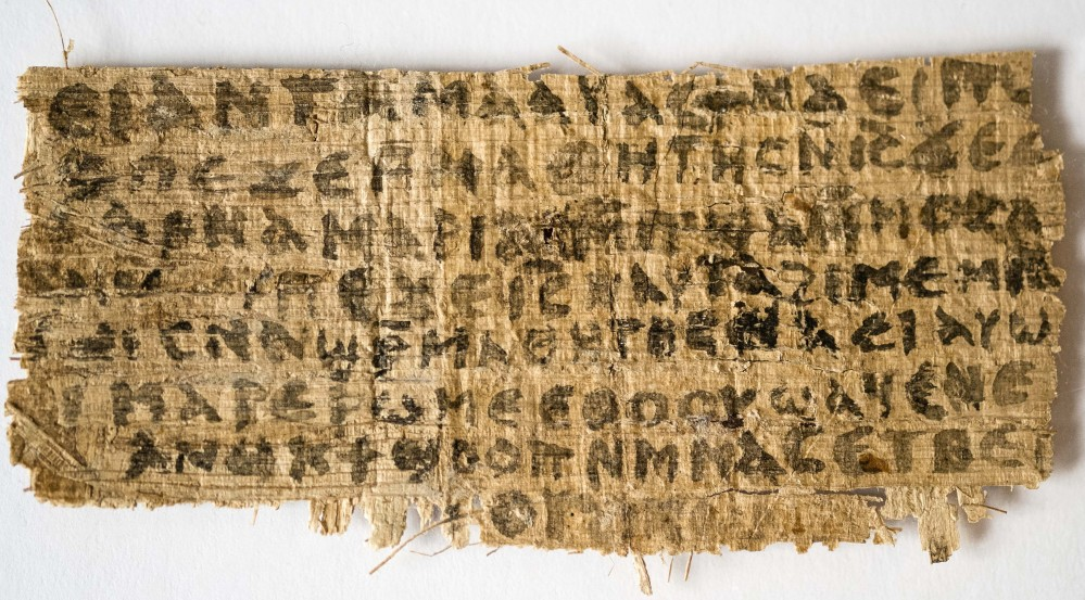 This photo shows a fragment of papyrus that Harvard divinity professor Karen King says is the only existing ancient text that quotes Jesus explicitly referring to having a wife.