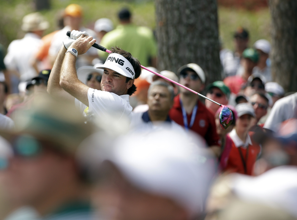 Bubba Watson tees off on the 17th hole during the second round of the Masters golf tournament Friday, April 11, 2014, in Augusta, Ga.