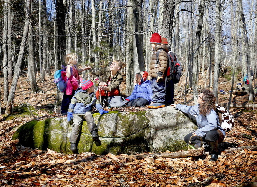 A boulder provides a convenient resting area for the children in White Pine Forest Kindergarten, which connects preschoolers with the outside world.