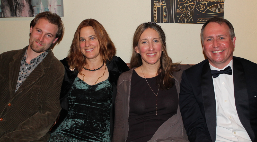 Screenwriter Brendan Fitzgerald, left, joins fellow writers Kate Christensen, Genevieve Morgan and Paul Doiron in the Authors Corner at Glitterati 2014, the annual fundraiser for Portland's Telling Room.