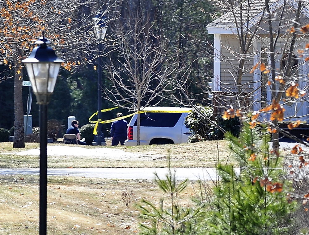 Maine State Police investigate the shooting at 2 Searsport Way in Windham on Saturday morning.