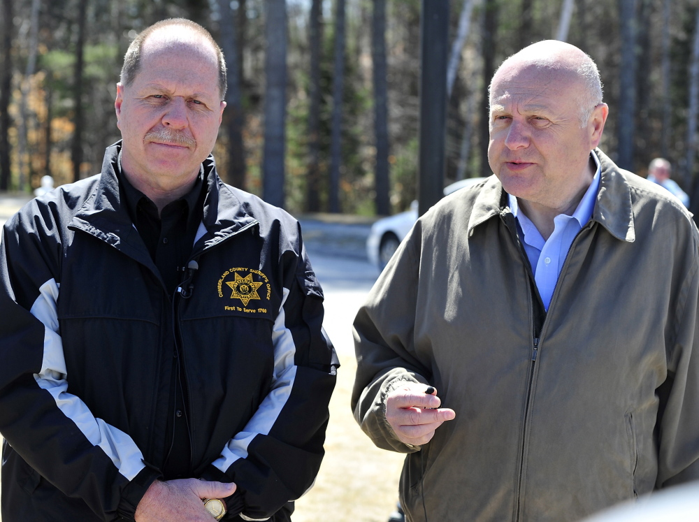 Sheriff Kevin Joyce, left, and Windham Police Chief Rick Lewsen talk to the media about the shooting of Stephen McKenney by a Cumberland County sheriff's deputy Saturday.