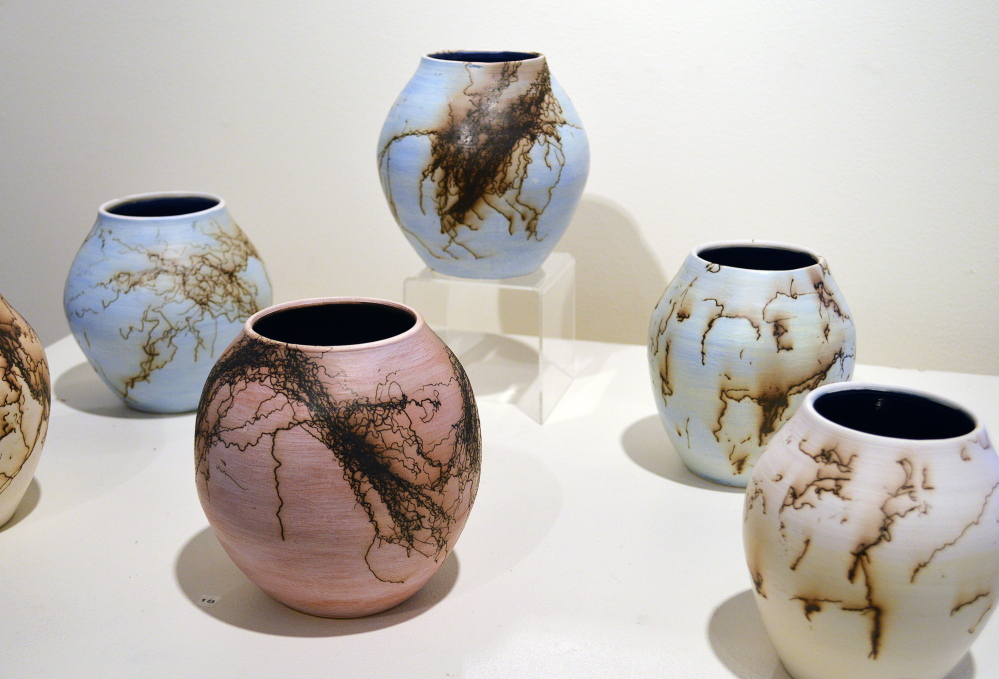 Horsehair raku pots by Nancy Meader.