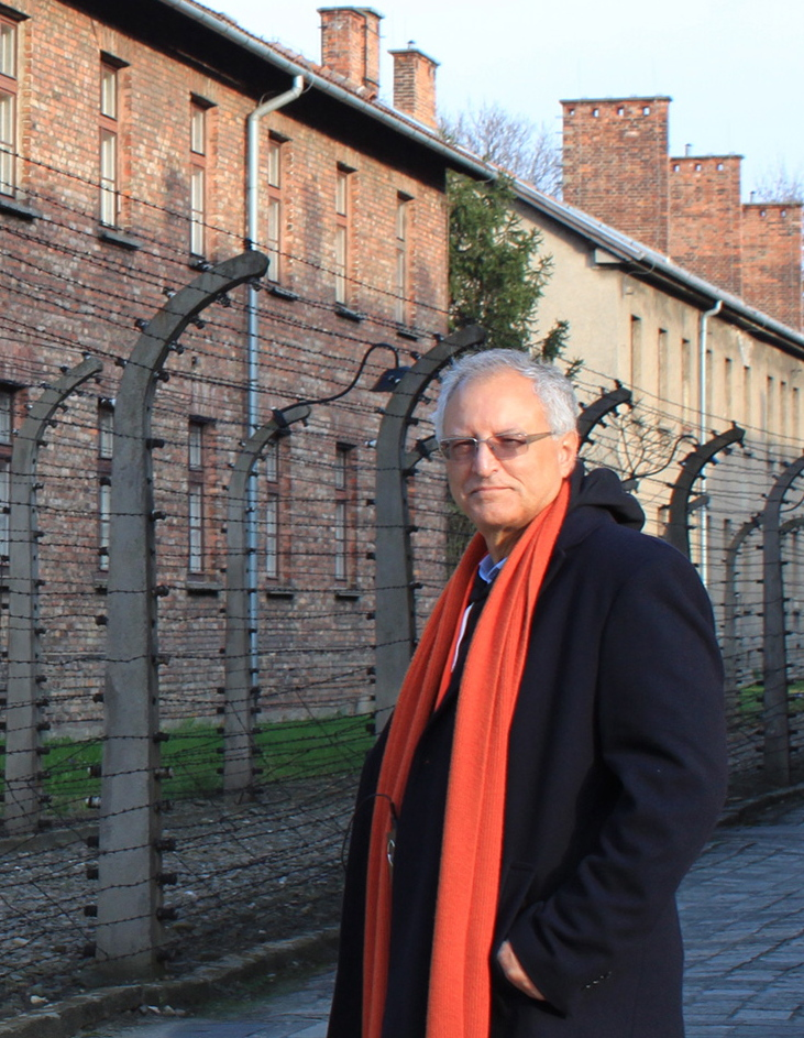 Professor Mohammed Dajani is shown at Auschwitz, Poland, last month.