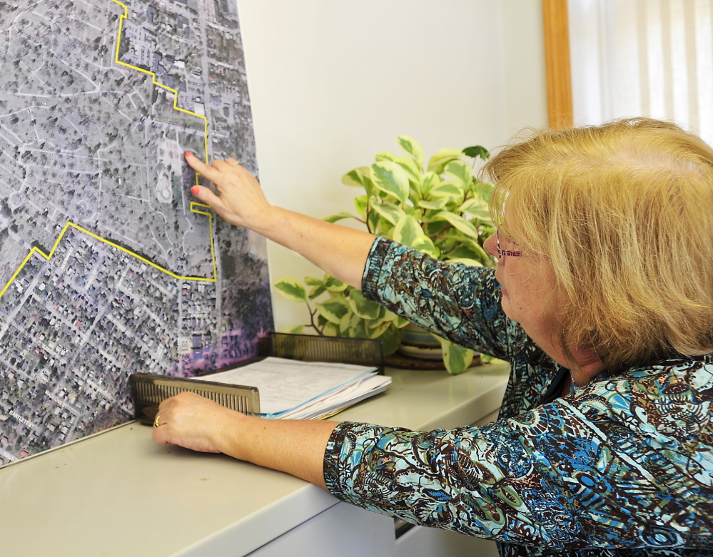 Elaine Spring, administrative associate for the Department of Public Services, shows the area that Evergreen Cemetery is expanding to allow more cemetery plots to be sold.