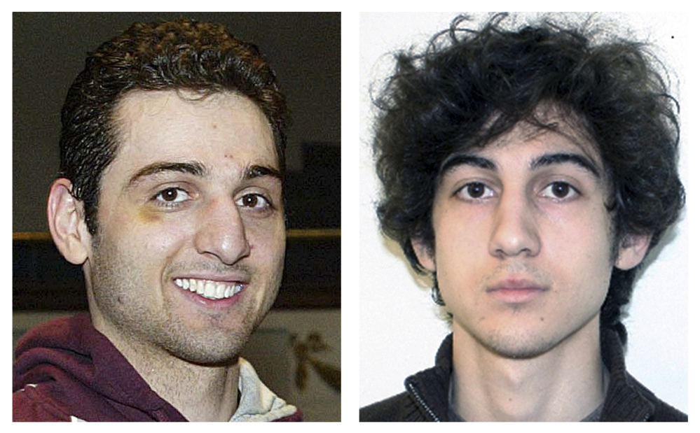 This combination of photos shows brothers Tamerlan, left, and Dzhokhar Tsarnaev, suspects in the Boston Marathon bombings on April 15, 2013.