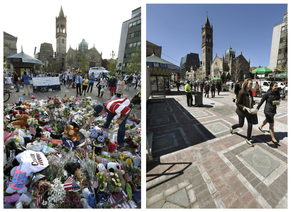 This combination of May 7, 2013, and April 10, 2014, photos shows Kevin Brown placing a Teddy bear at a makeshift memorial near the Boston Marathon finish line in Copley Square, and people walking through the same square at lunchtime nearly a year later in Boston.