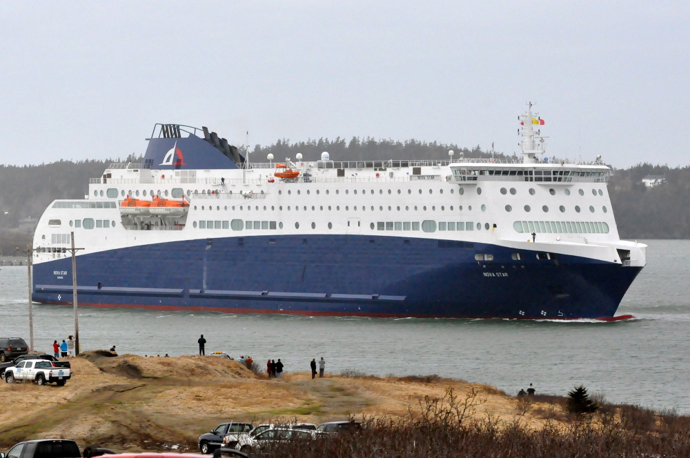 The Nova Star dwarfs some of the people who turned out on the outskirts of Yarmouth to watch the new ferry enter Yarmouth Harbour on Tuesday.