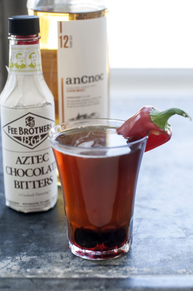 A Dark Night, a drink made with Aztec chocolate bitters.