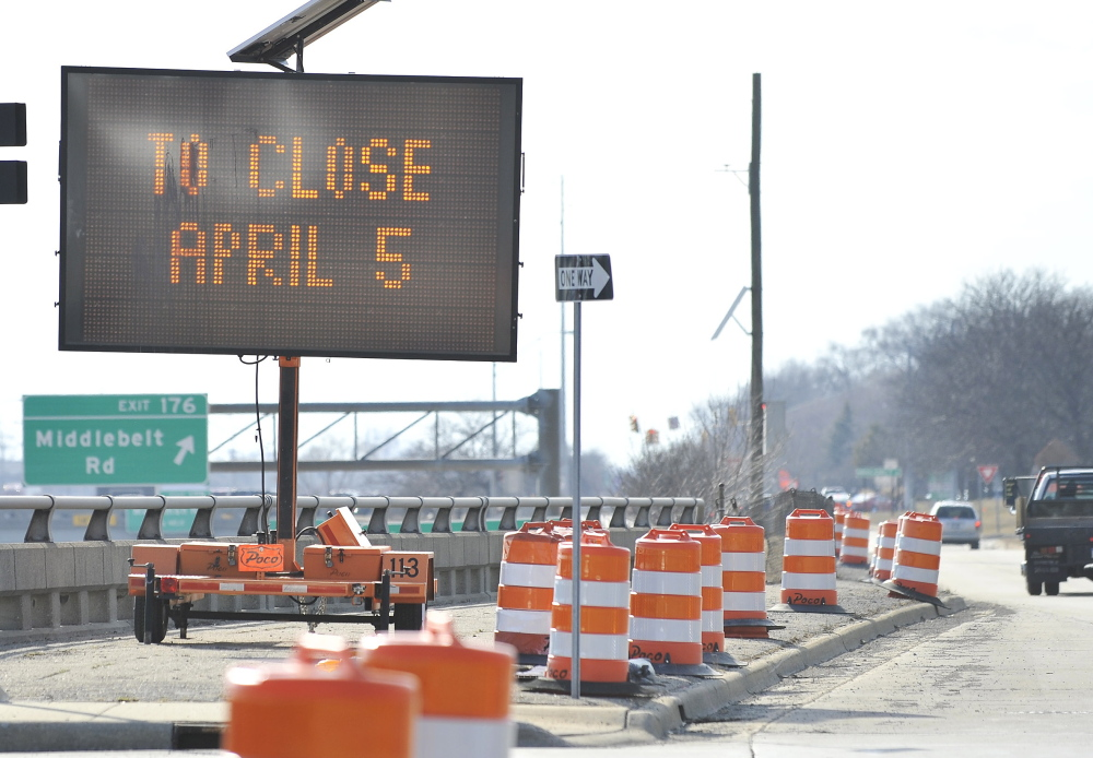 A sign warns of a road closure tied to construction. With the government's Highway Trust Fund nearly broke, Congress needs to find a funding to keep such projects going.