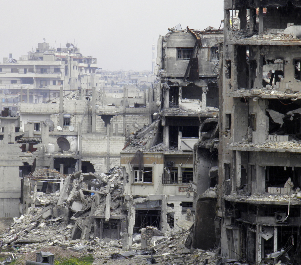 Buildings in Homs, Syria, shown on March 9, are severely damaged from heavy assaults on the city.